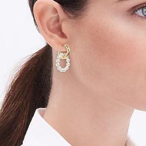 J Crew Interlocking Gold & Pearl Hoop Earrings